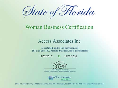 Florida Woman Owned Business Certification
